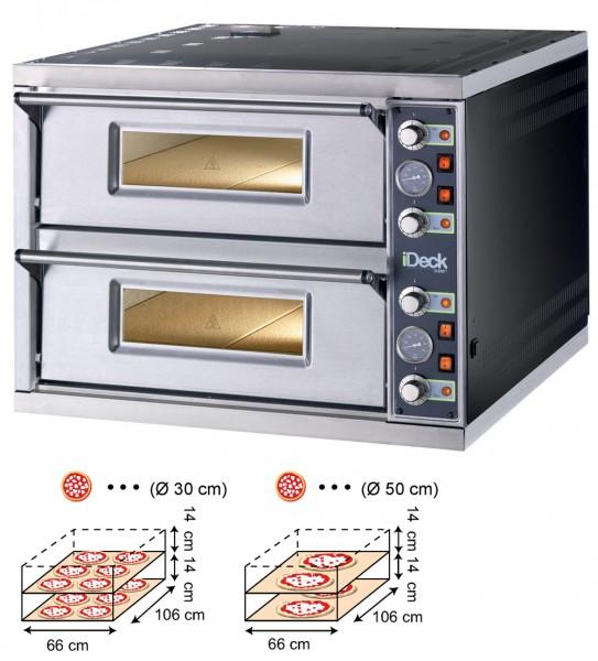 Moretti IDECK PD 65.105 Pizzaofen Elektro Manuell mit 2 Backkammern für 2 x 6 Pizzen Ø 30 cm