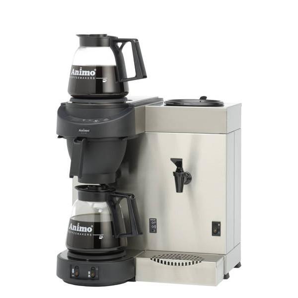 Animo M200W Kaffeemaschine mit Wasseranschluss und Heißwasserkocher mit 2 Glaskannen