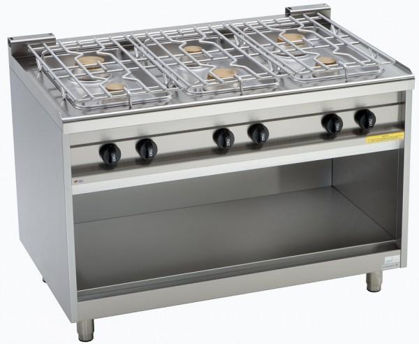 EKU Gasherd 6 Flammen EMAXXBurner mit offenem Unterbau - Tiefe 750 mm  - Gute und bewährte Qualität zum attraktiven Preis