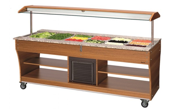 Bartscher Buffetwagen Kalt GN 6 x 1/1 - Salatbar - Farbe: Teak