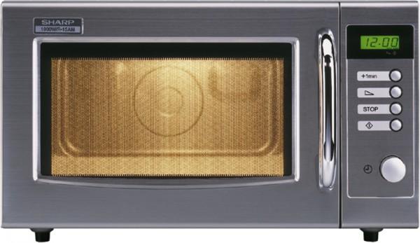 Sharp Profi-Mikrowelle R-15 AM - 1000 Watt - 28 Liter - Manuell Drehknopfbedienung und LCD-Anzeige