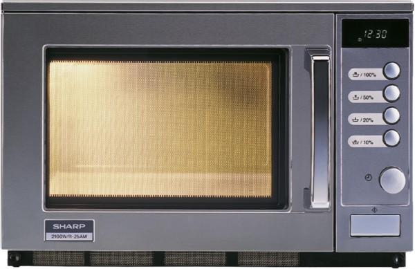 Sharp R-25 AM Profi-Mikrowelle - 2100 Watt - 20 Liter - manuell - Drehknopfbedienung und LCD-Anzeige