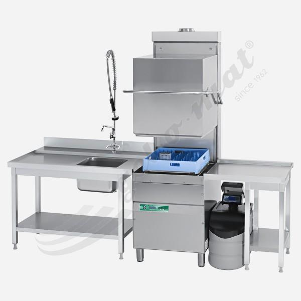 Gelomat E Complete 3000 Haubenspülmaschine mit Vollausstattung und Wärmerückgewinnung inkl. Tische
