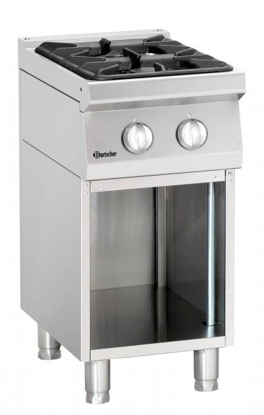 Bartscher 2 Flammen Gasherd mit offenem Unterbau - Serie 700