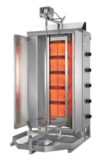 POTIS GD5 Gas Dönergrill / Gyrosgrill für Flüssiggas oder Erdgas - für 120 kg Infrarot-Doppelbrenner