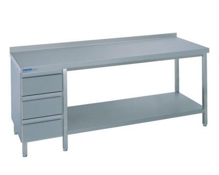 Chromonorm Arbeitstisch Breite 1600 mm Tiefe 700  mm mit Schubladenblock RECHTS  - offen mit Boden