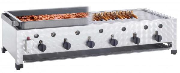 Neumärker Gas Kombi-Tischbräter mit 6 Brenner inkl. Rost und Schwarzblechpfanne