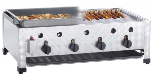 Neumärker Gas Kombi-Tischbräter mit 3 Brenner inkl. Rost und Schwarzblechpfanne