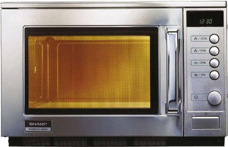 Sharp R-22 AM Profi-Mikrowelle  - 1500 Watt - 20 Liter  manuell Drehknopfbedienung und LCD-Anzeige
