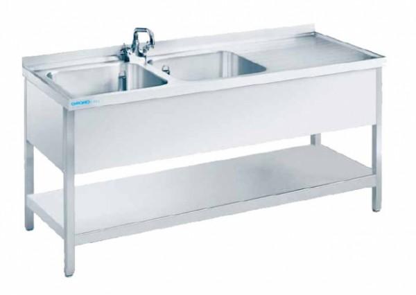 chromonorm sp ltisch mit 2 becken links tiefe 700 breite 1900 mm offen mit boden. Black Bedroom Furniture Sets. Home Design Ideas