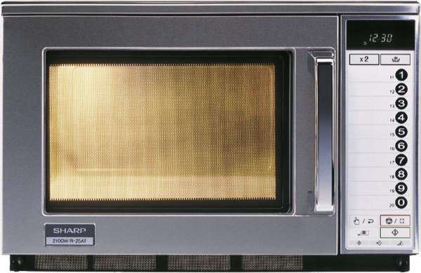 Sharp R-25 AT Profi-Mikrowelle - 2100 Watt - 20 Liter mit 20 Programmspeicher - ersetzt R-23 AT - LCD-Anzeige