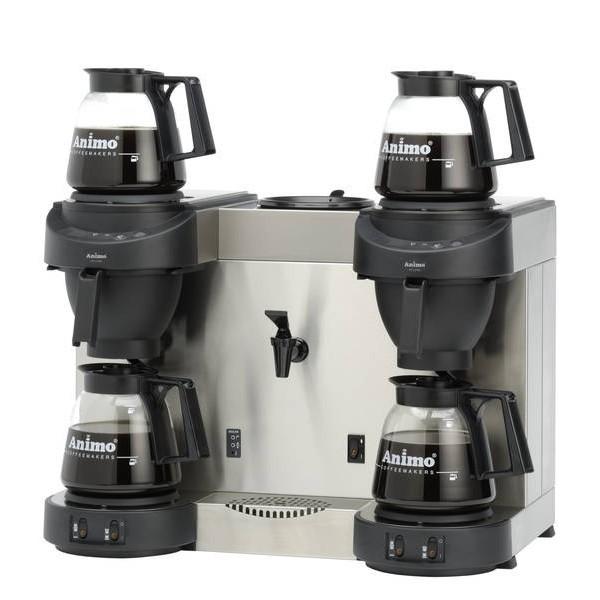 Animo M202W Kaffeemaschine mit Wasseranschluss und Heißwasserkocher mit 4 Glaskannen