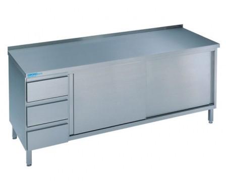 Chromonorm Arbeitschrank  Schubladenblock links und Schiebtüren Tiefe 700